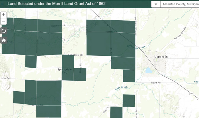 Land Grant parcel around Copemish