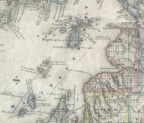 """Image of Manitou County from """"Map of the State of Michigan and the Surrounding Country,"""" Exhibiting the Sections and the Latest Surveys.  By John Farmer. Published in Detroit in 1855."""