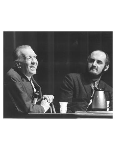 Picture of Borges and Yates at a lecture in MSU's Fairchild Theatre in 1972. (Original Photo Credit: MSU University Relations.)
