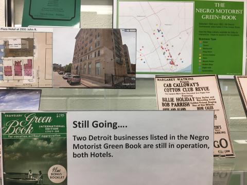 Collage of items in new exhibit of Michigan Green Book Locations