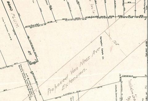 Penciled in proposed route for Van Ness Street in San Francisco